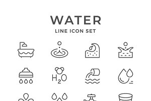 Set line icons of water