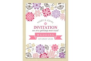 Floral poster design template with place for your text. Wedding invitation