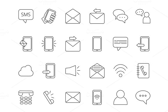 Mono Line Icon Set Of Business Theme Symbols Of Communication