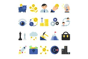 Business b2b symbols in flat style. Icons of management and finances