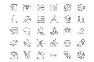Mono line icon set of business and finance theme