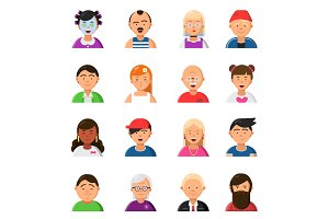 Funny cartoon faces. Avatars in flat style