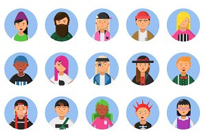 Web funny avatars set of different hipsters male and female