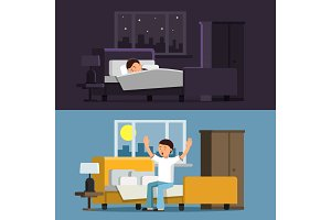Illustrations of relaxed people. Sleeping man in bed in the night. Male in the morning