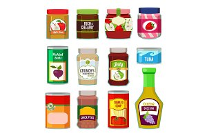 Jars with canned fruits and others different goods. Vector pictures in flat style