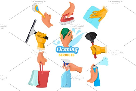 Womens Hands With Different Tools For Cleaning