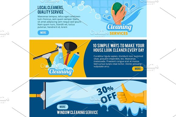 Banners Set With Concept Illustrations Of Cleaning Service Theme