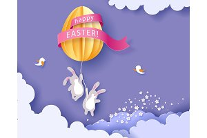 Happy Easter card with banny, flowers and egg