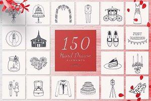 150 Hand Drawn Elements -Wedding-
