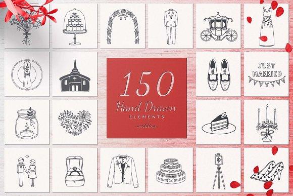 150 Hand Drawn Elements Wedding-