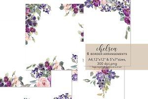 Watercolor Blush Plum Foliage Frames