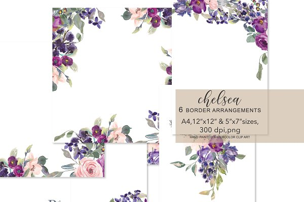 Watercolor Blush Plum Foliage Frame…