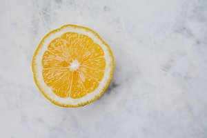 Lemon in a cut on a light background