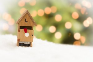 Santa in Miniature Outhouse on Snow