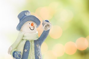 Snowman With Scarf, Hat and Bell