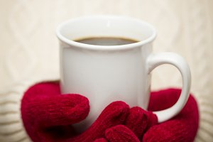 Woman, Red Mittens and Mug