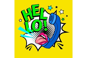 Hello pop art illustration