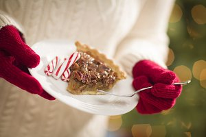 Woman, Red Mittens, Pecan Pie