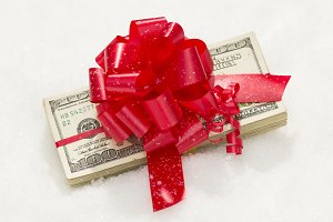 One Hundred Dollar Bills & Red Bow