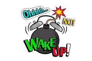 Wake up pop art style illustration