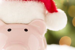 Pink Piggy Bank in Santa hat