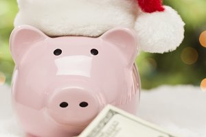 Pink Piggy Bank in Santa Hat, Money