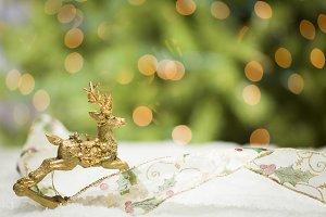 Golden Christmas Reindeer Abstract