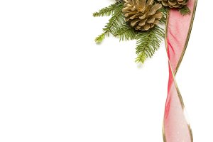 Christmas Pine Cones, Red Ribbon