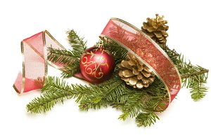 Christmas Ribbon, Pine Cones, Branch