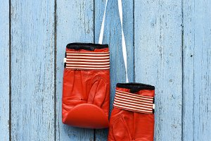 red leather boxing gloves