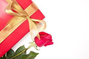 Gift, Gold Ribbon & Rose on White