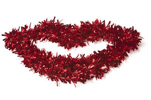 Lip Shaped Red Tinsel on White