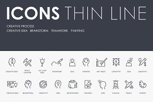 Creative process thinline icons