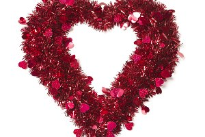 Heart Shaped Shiny Tinsel on White