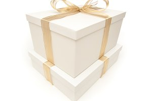 White Gift Boxes, Gold Ribbon