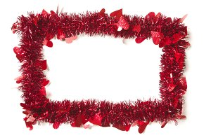 Red Tinsel with Hearts Border Frame