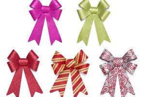 Set of Multicolored Glitter Bows