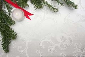 Silk Christmas Background, Candle