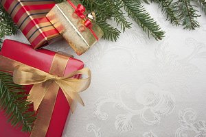 Silk Christmas Background with Gifts