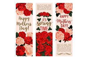 Mother Day bouquet of rose flower greeting banner