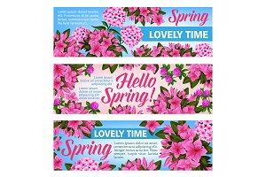 Pink flower banner of Spring Season holiday design