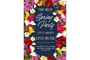 Vector spring music festival invitation poster