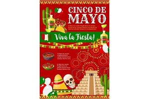 Cinco de Mayo Mexican vector greeting card