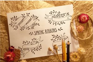 Spring hand-drawn ribbons