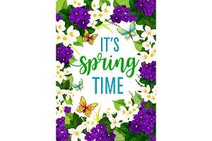 Vector springtime crocuses flowers frame poster