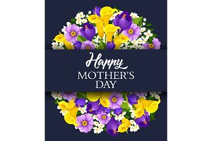 Vector Happy Mother Day holiday greeting card