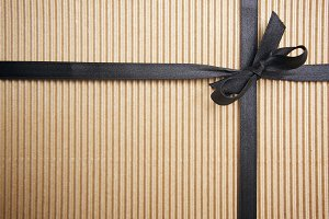 Corrugated Gift Box, Black Ribbon