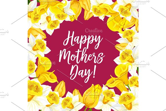Vector Happy Mothers Day Greeting Card