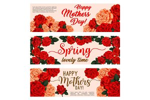 Spring holiday flower banner of Mother Day design