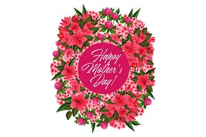 Mother Day pink flower wreath greeting card design